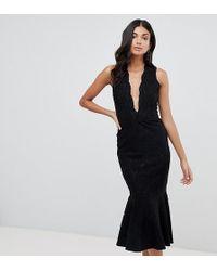 John Zack - Allover Lace Midi Dress With Peplum Hem In Black - Lyst