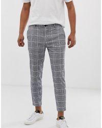 Bershka - Skinny Check Trousers In Blue - Lyst