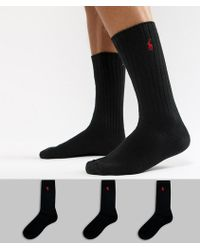 Polo Ralph Lauren - Cotton Rib 3 Pack Socks In Black - Lyst