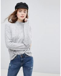 Pieces - High Neck Knitted Jumper - Lyst