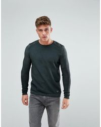 Solid - Sweatshirt In Oil Wash With Knitted Rib Sleeves - Lyst