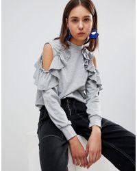 Glamorous - Cold Shoulder Ruffle Sweatshirt - Lyst