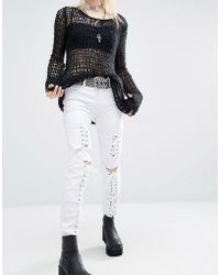 Tripp Nyc - Low Rise Skinny Jeans With Boho Lace Front - Lyst