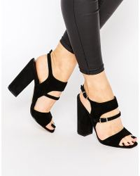 Warehouse - Suede Block Heeled Sandal - Black - Lyst
