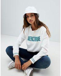 Abercrombie & Fitch - Cropped Logo Sweatshirt - Lyst