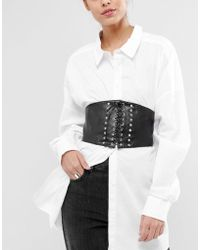 Pieces - Studded Corset Belt - Lyst