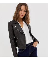 River Island - Leather Biker Jacket In Chocolate - Lyst