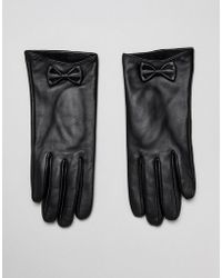 Barneys Originals - Real Leather Gloves With Bow Detail - Lyst