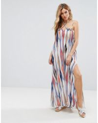 Pia Rossini - Multi Print Beach Dress With Side Splits - Lyst