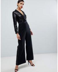 Coast - Minelli Sequin Tux Jumpsuit - Lyst
