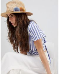 French Connection - Straw Beach Trilby Hat With Plait Detail And Pom Poms - Lyst
