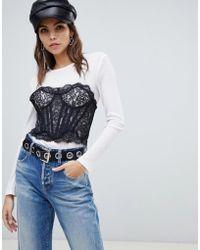Miss Sixty - Bralet Detail Long Sleeve Top - Lyst