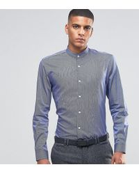 Number Eight Savile Row - Skinny Grandad Shirt With Stripe - Lyst