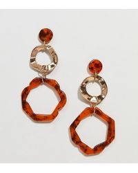 Glamorous - Resin Tortoisehell And Gold Hexagonal Hoop Earrings - Lyst