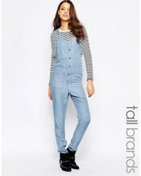 Noisy May Tall - Chambray Button Through Jumpsuit - Lyst