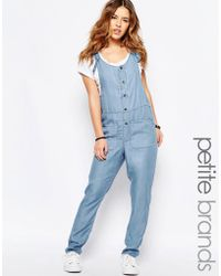 Noisy May Petite - Chambray Button Through Jumpsuit - Lyst