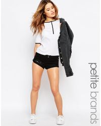 Noisy May Petite | Ripped Black Denim Shorts | Lyst