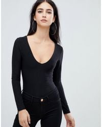 Lyst - Oh My Love Bandeau Bodysuit With Plunge Neck in Black c2fa6a5cb