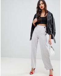 AX Paris - Wide Leg Trouser With Button Detail - Lyst