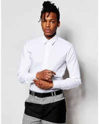 Rogues Of London - Skinny Fit Stretch Shirt - White - Lyst