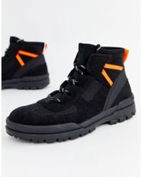 ASOS - Hiker Boots In Black Faux Suede With Contrast Details - Lyst
