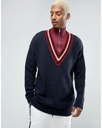 ASOS - Oversized V-neck Sweater In Navy With Burgundy Tipping - Lyst