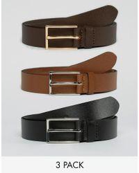 ASOS - Smart Leather Belt 3 Pack Save - Lyst