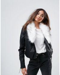 Urban Bliss | Pacific Pu Biker Jacket With Faux Fur Jacket | Lyst