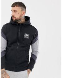 62a47129ba8f Nike - Air Zip Through Hoodie In Black 928629-010 - Lyst
