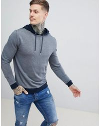 ASOS - Hoodie In Navy Marl With Contrast Tipping - Lyst