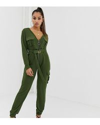 Boohoo - Knitted Zip Through Utility Jumpsuit With Belt In Khaki - Lyst