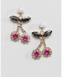 ASOS - Earrings With In Crystal Cherry Design With Pearls In Gold - Lyst