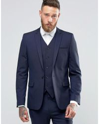 ASOS - Skinny Suit Jacket In Navy - Lyst
