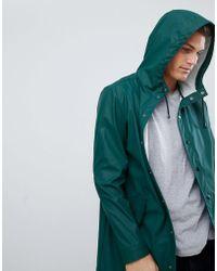 ASOS - Shower Resistant Rain Coat In Green - Lyst