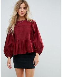 ASOS - Pleat Detail Top With Contrast Stitching - Lyst