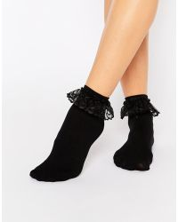 Leg Avenue - Anklet Sock With Lace Ruffle - Lyst