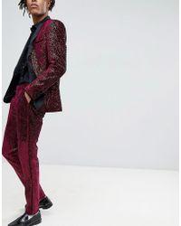 ASOS - Super Skinny Tuxedo Suit Trousers In Allover Burgundy Sequin - Lyst