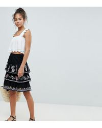 ASOS - Asos Design Tall Tiered Mini Sun Skirt With Embroidery - Lyst
