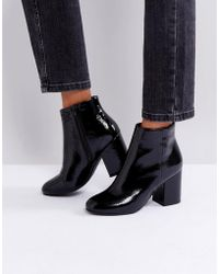 New Look - Patent Round Toe Heeled Boot - Lyst