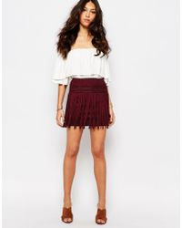 First & I | Fringe Faux Suede Mini Skirt - Red | Lyst