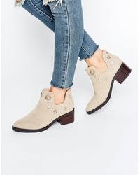E8 - E8 By Miista Octavia Embellished Western Cut Out Suede Heeled Ankle Boots - Lyst