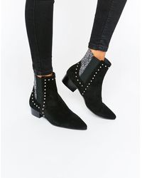 E8 - E8 By Miista Stud Glitter Suede Point Ankle Boots - Lyst