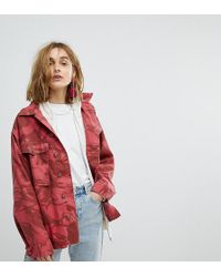Reclaimed (vintage) - Revived Overdyed Military Jacket In Red Camo - Lyst