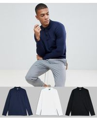 ASOS - Long Sleeve Polo In Jersey 3 Pack Save - Lyst