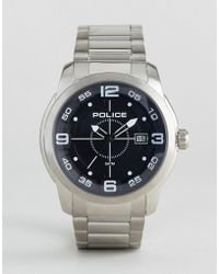 Police - Sniper Stainless Steel Bracelet With Black Dial - Lyst