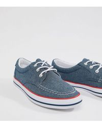 ASOS - Design Wide Fit Boat Shoes In Blue Chambray With Red And Navy Detail - Lyst
