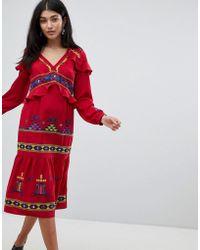 ASOS - Premium Aztec Embroidered Midi Ruffle Dress - Lyst