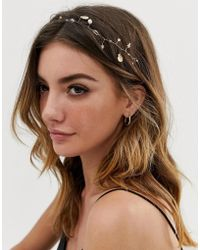 ASOS Back Hair Crown With Shells And Pearl And Crystal Detail In Gold Tone