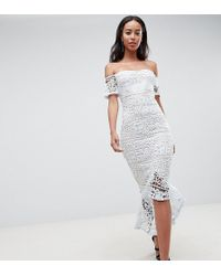 7ea49b218de Missguided Lace Sleeve Prom Dress in Natural - Lyst