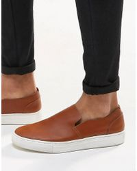 ASOS - Slip On Plimsolls In Tan Leather - Lyst